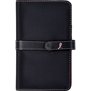 Day-Timer® Pink Ribbon Collection Starter Set, Black Microfiber, Portable Size