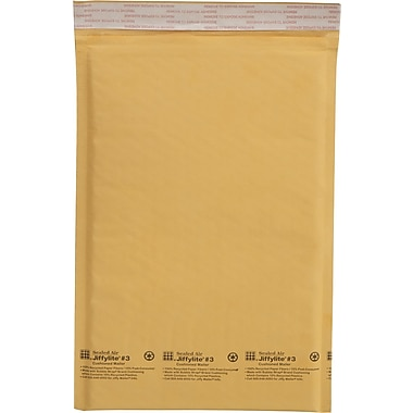 Sealed Air Corporation Jiffy® Padded Self-Seal Kraft Mailers, Side Seam, #3, 8 1/2in. x 14 1/2in., 100/Ct