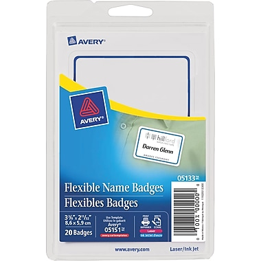 Avery® Flexible Name Badge Labels, Blue Border
