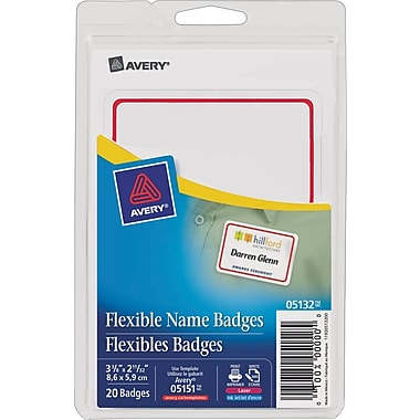 Avery® Flexible Name Badge Labels, Red Border