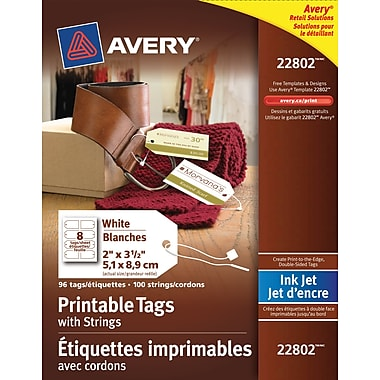 Avery® 22802 Inkjet Printable Tags with Strings, 2