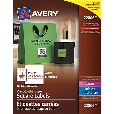 Averyr 22806 white laser inkjet permanent print to the for Avery square labels template