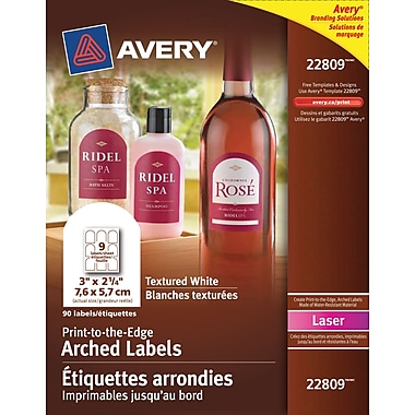 Avery® - Étiquettes arquées texturées laser 22809, impression jusqu'au bord, 3 po x 2 1/4 po, blanches, paq./90
