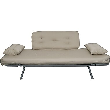 Elite Mali Flex Futon Combo Sofa/Lounger/Sleeper, Silver and Khaki