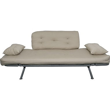 Elite Mali Flex Futon Combo Sofa/Lounger/Sleeper, Silver and Khaki