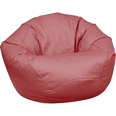 Elite Classic Large Faux Leather Bean Bag Chair, Burgundy
