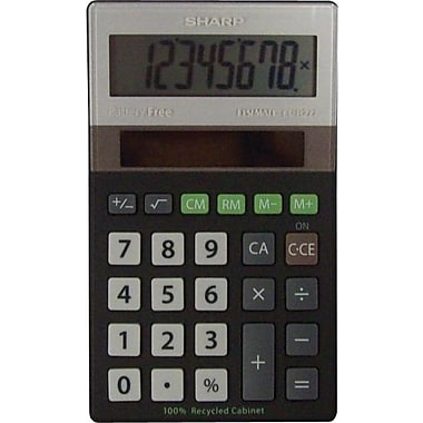 Sharp® EL-R277BBK 8-Digit Display Calculator