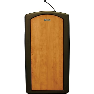 Amplivox Pinnacle Full Height Lecterns with Built-in Dynamic Gooseneck Mic (Medium Oak)