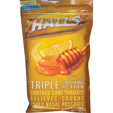 Halls® Triple Soothing Action Cough Drops, Honey-Lemon, 12 Bags/Box