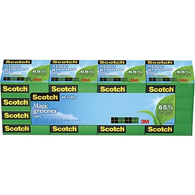 Scotch® Magic™ Greener Tape 812 Value Pack, 3/4in. x 16 3/4 yds, 1in. Core, 16/Pack