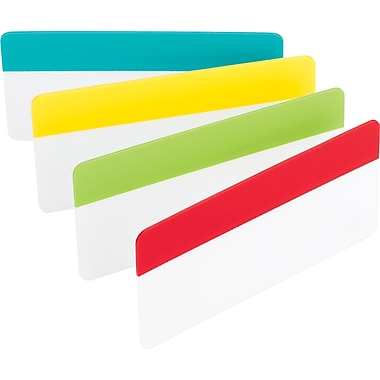 Post-it® 3in. Durable Filing Tabs, Assorted Primary Colors, 24 Tabs/Pack
