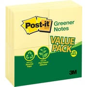 "Post-it® Greener Notes, Blank, Canary Yellow, 3"" x 3"", 24/Pk"