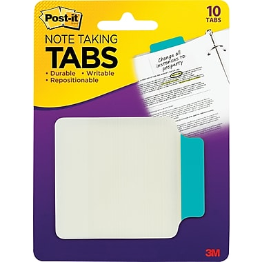 Post-it® Durable Note-Taking Tabs, Aqua, 2-3/4in. x 3-3/8in., 10 Tabs/Pack