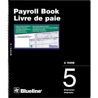 Blueline® Payroll Books, A1005B, 5-Employee, Bilingual
