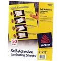 Avery Letter Size Self-Adhesive Laminating Sheets, 3 mil, 50 pack