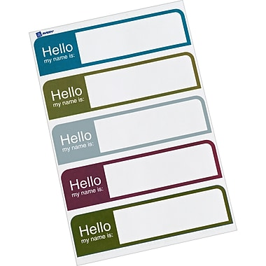 Avery® Print-or-Write Name Badges, Assorted Muted Colors, 1in. x 3 3/4in., 100/Pk