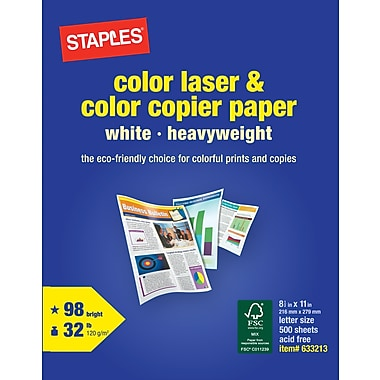 Staples® Color Laser and Copier Paper, 8 1/2in. x 11in., Ream