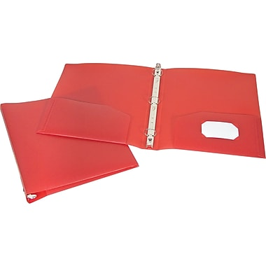 1in. Storex® Recycled Poly Two-Pocket Binder with Round Rings, Red