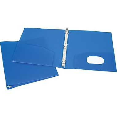 1in. Storex® Recycled Poly Two-Pocket Binder with Round Rings, Blue