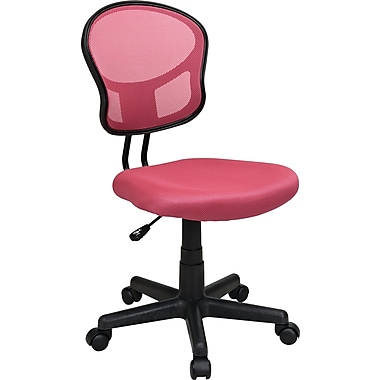 Office Star Mesh Armless Low-Back Task Chair, Pink