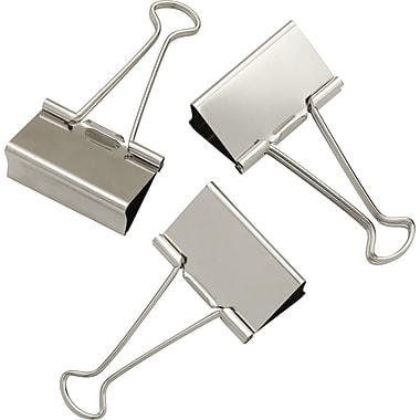 Staples® Large Satin Silver Metal Binder Clips, 2in. Size with 1in. Capacity