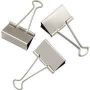 "Staples® Large Satin Silver Metal Binder Clips, 2"" Size with 1"" Capacity"