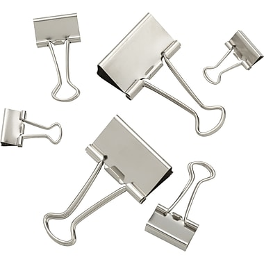 Staples® Satin Silver Metal Binder Clips, Assorted Sizes and Capacities