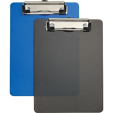 Staples® Plastic Memo Clipboards, Black & Blue, 2/Pack, 6in. x 9in.