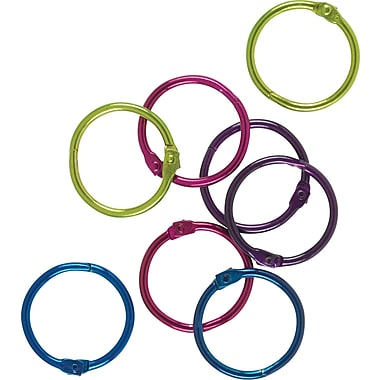 Staples® Book Rings, 1in. Size, Assorted Colors, 16/Pack