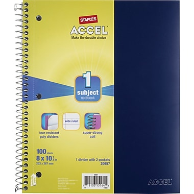 Staples® Accel Durable Poly Cover Notebook, Wide Ruled, Blue, 8