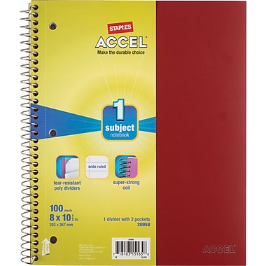 Staples Accel Durable Poly Cover Notebook, Wide Ruled, Red, 8