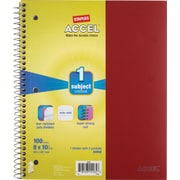 Staples® Accel Durable Poly Cover Notebook, Wide Ruled, Red, 8 x 10-1/2