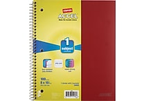 Staples® Accel Durable Poly Cover Notebook, Wide Ruled, Red, 8' x 10-1/2'