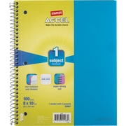 Staples® Accel Durable Poly Cover Notebook, Wide Ruled, Teal, 8 x 10-1/2