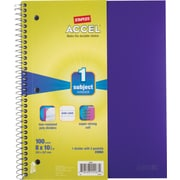 Staples® Accel Durable Poly Cover Notebook, Wide Ruled, Purple, 8 x 10-1/2