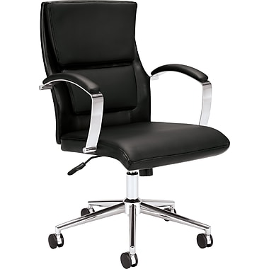 basyx by HON VL106 Mid-Back Leather Executive Chair, Black