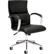basyx™ by HON VL106 Mid-Back Leather Executive Chair, Black