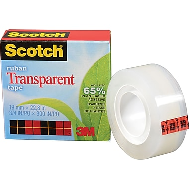 Scotch™ Plant Based Transparent Boxed Tape, 19mm x 22.8m, 2/Pack
