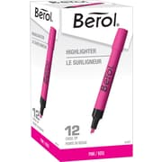 Berol Highlighters, Pink, Chisel Tip, Dozen