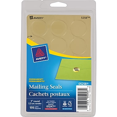 5258 metallic gold permanent adhesive mailing seals 1in 195 pack