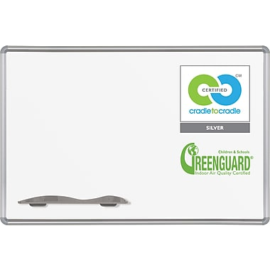 Best-Rite Green-Rite® Dry-Erase Porcelain Board with Silver Presidential Trim, 3'H x 4'W