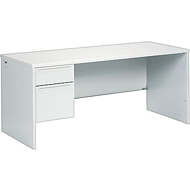 HON® 38000 Series in.Lin. Workstation Desk for Right Return, 66in.W, Light Gray/Light Gray