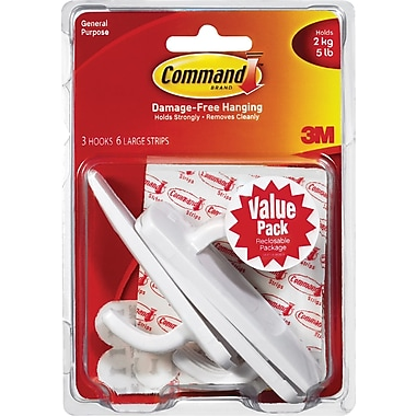 Command™ Large Hook Value Pack, White, 3/Pack