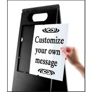 "Headline Sign® Customizable Tent Sign, Black, 26-1/2"" x 10-1/2"""