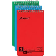 "Ampad Wirebound Pocket Memo Book, 3"" x 5"", Narrow Ruled, 50 Sheets/Book, 3/Pk"