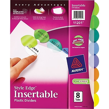 Avery® Style Edge™ Insertable Plastic Dividers, 8-Tab