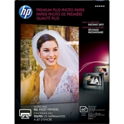 HP Premium Plus Photo Paper, 5 x 7, Glossy, 60/Pack