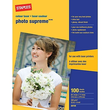 Staples® - Papier photo laser couleur Supreme, 8½ po x 11 po, lustré