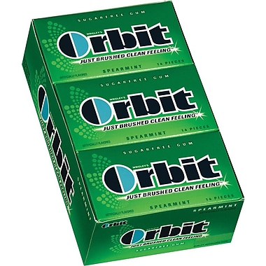 Orbit® Sugar-Free Gum, Spearmint, 12 Packs/Box