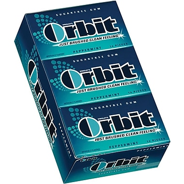 Orbit® Sugar-Free Gum, Peppermint, 12 Packs/Box